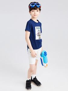 gxgkids童装深蓝色印花T恤