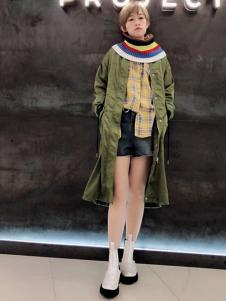 A.WPROJECT女装绿色长款外套
