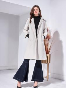 艾丽哲秋冬新款中长款毛呢外套修身简约大衣