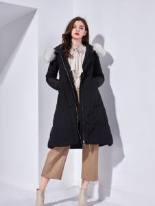 艾丽哲秋冬新款韩版宽松中长款黑色羽绒服