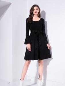艾丽哲秋冬新款圆领黑色修身连衣裙