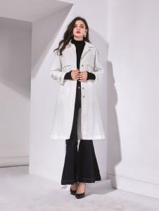 艾丽哲秋冬新款风衣中长款白色宽松女装外套