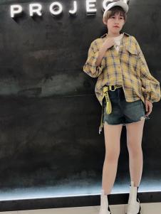 A.WPROJECT女装黄色格子衬衫