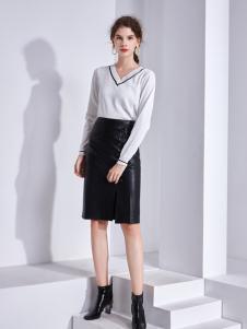 艾丽哲秋冬新款包臀修身皮裙