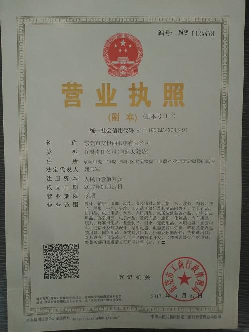 东莞市艾伊丽发服装限公司企业档案