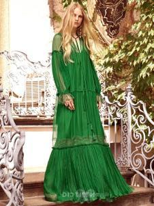 依然浪漫女装绿色网纱连衣裙