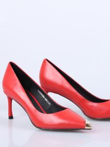 DIOUGENS迪欧摩尼18红色甜美女鞋
