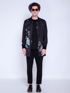 BELMAR男装黑色印花外套