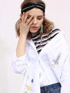 2018betu百图女装白色印花衬衫
