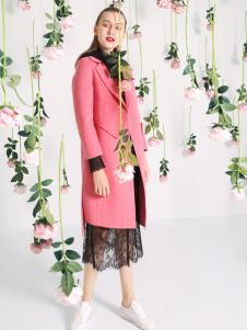 依路佑妮18新款桃红色大衣