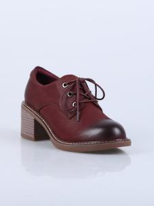 迪欧摩尼18酒红色英伦复古女鞋