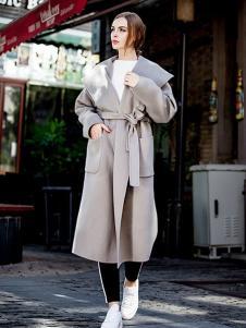 蔓瑞兰熙女装米白色系带大衣