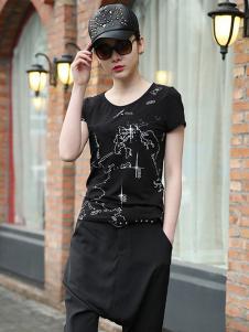 黑马蓝女装黑色印花T恤