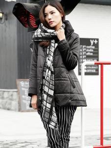 黑马蓝女装黑色时尚羽绒服