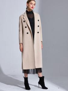 2018艾米女装长款米色大衣