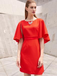 2018迪奥女装优雅红色连衣裙