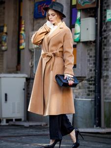 蔓瑞兰熙女装卡其色系带长款大衣