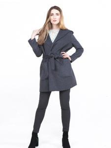 蔓瑞兰熙女装深灰中长款系带大衣