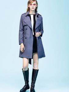 留仙儿女装蓝色休闲风衣