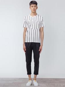OPN男装白色条纹T恤