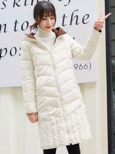 阿莱贝琳白色长款羽绒服