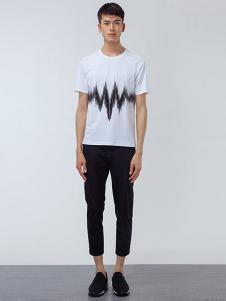 OPN男装白色波浪线形T恤