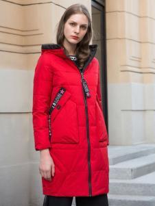 阿莱贝琳红色中长款羽绒服