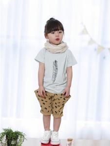 厚兴家族童装浅蓝树叶T恤