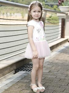 可爱贝比童装白色网纱女裙