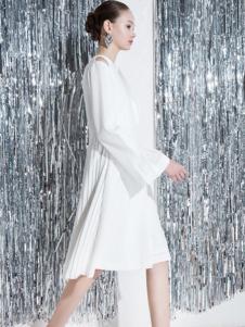 SIRAN女装白色休闲连衣裙