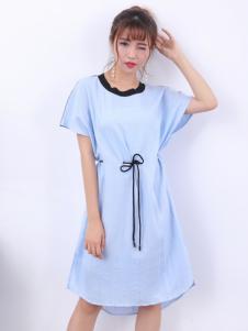 寂索新款蓝色系带连衣裙