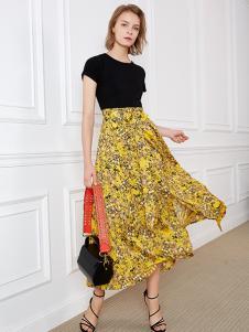 NILICO女装黄色碎花半身裙