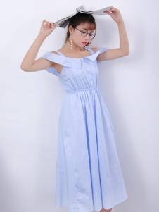 寂索新款露肩蓝色连衣裙