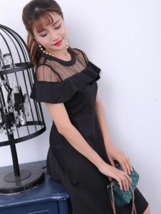 寂索新款荷叶边黑色连衣裙