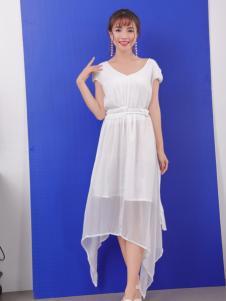 寂索新款纯色V领连衣裙
