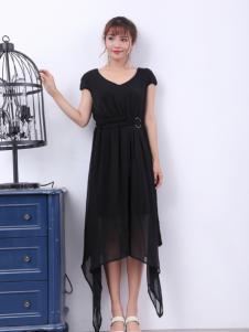 寂索新款不规则黑色连衣裙