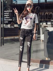 2018美酷思修身时髦牛仔裤