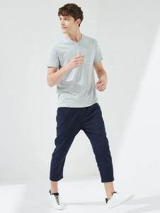马威男装灰色休闲T恤