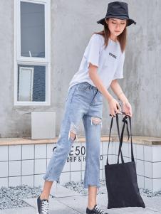 美酷思个性破洞牛仔裤