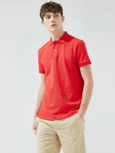 马威男装红色翻领T恤