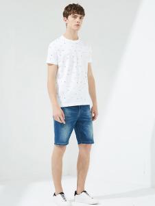 马威男装白色休闲T恤