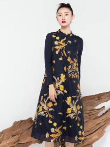 莫名女装藏青印花连衣裙