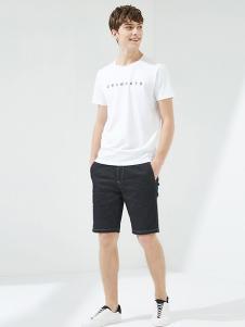 马威男装白色字母T恤