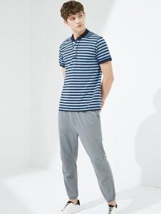 马威男装蓝底藏青条纹T恤