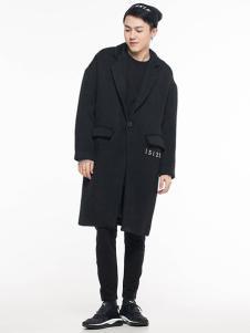 ERICCHANG男装黑色长款大衣