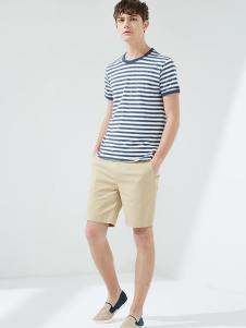 马威男装蓝白条纹T恤