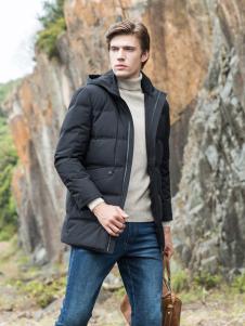 2018袋鼠男装黑色棉衣