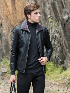 2018袋鼠男装黑色皮夹克