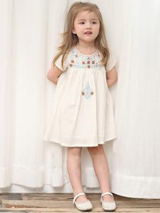 潮朴童装白色复古女裙