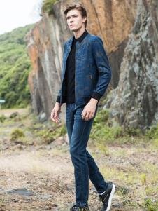2018袋鼠男装浅蓝色印花夹克
